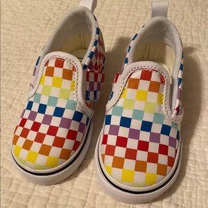 Vans. Rainbow checkered. Toddler 7.